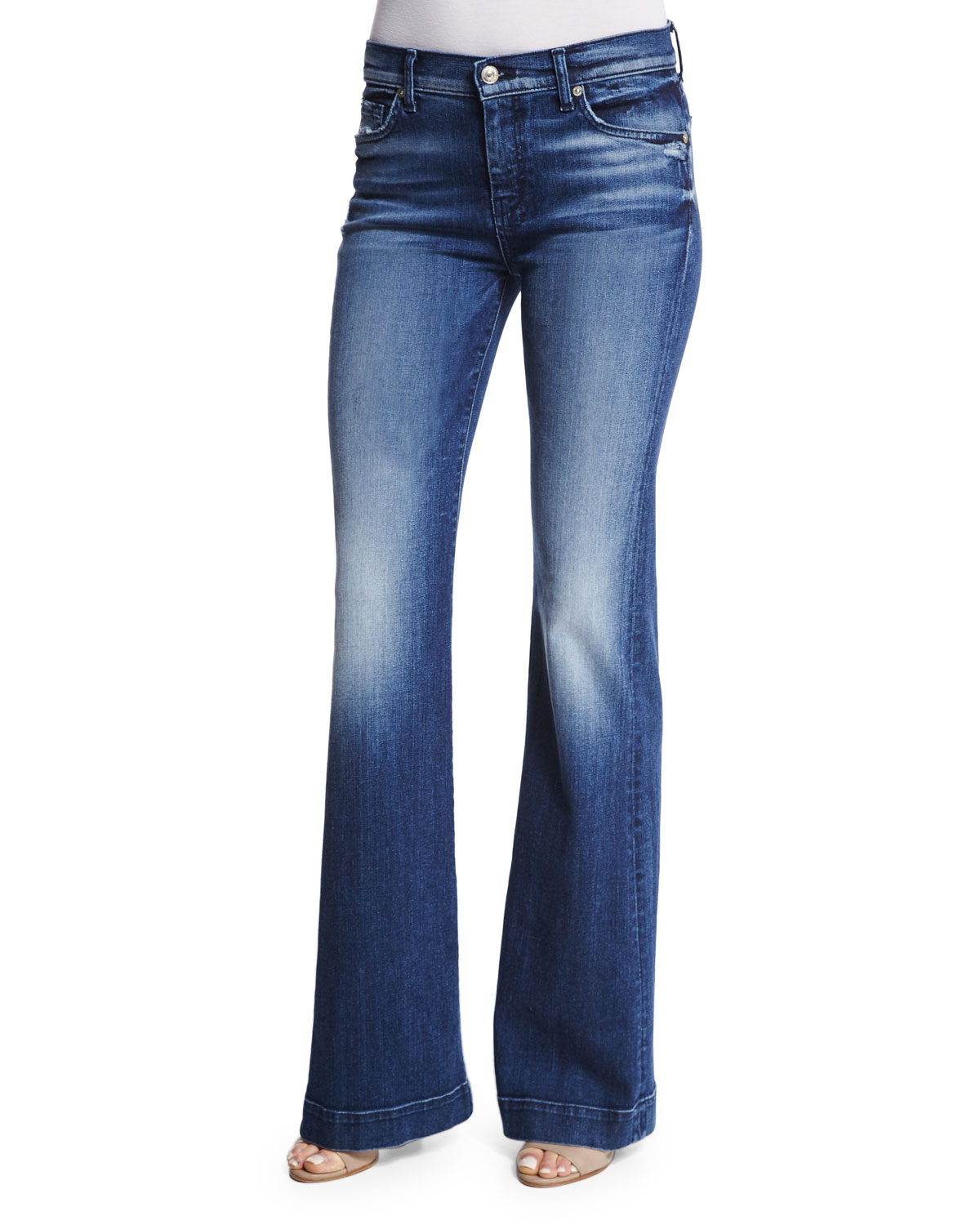 Tailorless Dojo Flare-Leg Jeans, Lake Blue, Size: 24, LAKE BLUE - 7 For All Mankind