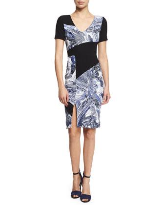 Short-Sleeve Colorblock Sheath Dress, Cobalt/Black