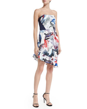 Strapless Dress W/Tulip Skirt, Cobalt/Crimson Paint