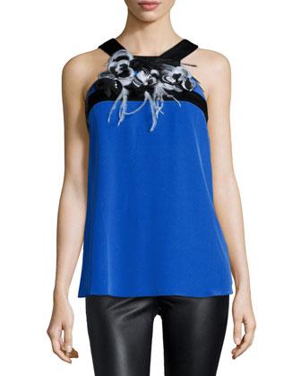 Embellished Halter-Neck Blouse, Cobalt