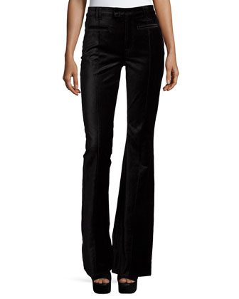 The Pintuck Flare-Leg Trousers, Black