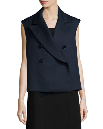 Double-Breasted Cotton-Blend Vest, Navy