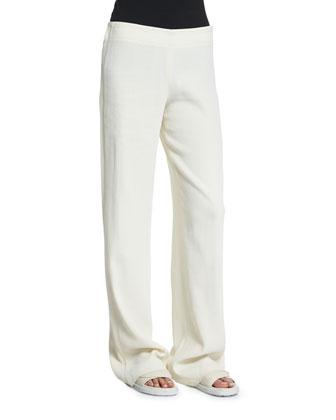 70s Crepe Wide-Leg Pants, Ivory