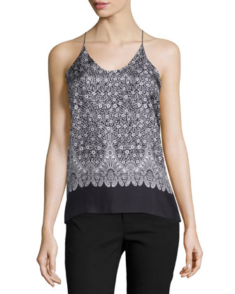 Floral Silk Cross-Back Tank, Black/Multicolor