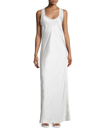 Satin Racerback Maxi Dress, Ivory