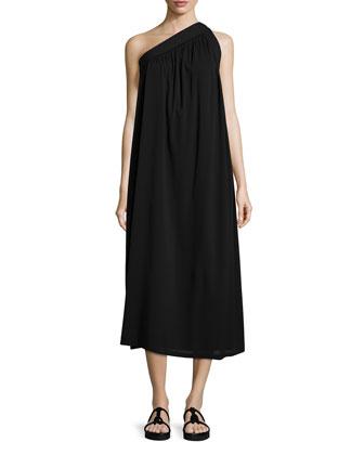 One-Shoulder Silk-Blend Trapeze Dress, Black