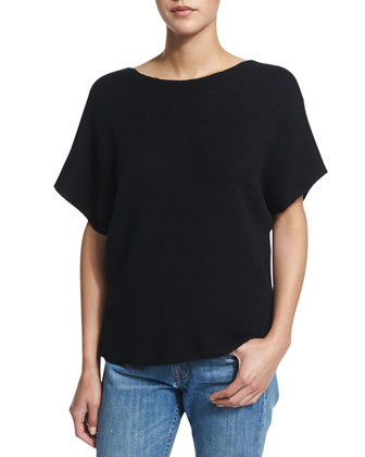 Cashmere-Blend V-Back Top, Black