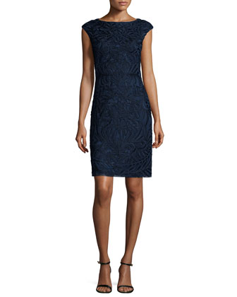 Cap-Sleeve Embroidered Sheath Dress, Navy