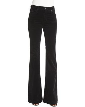 Janis High-Waist Flare Velvet Pants, Super Black
