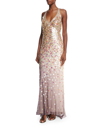 Allover Sequined Gown