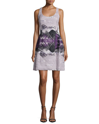 Sleeveless Molded-Seam Dress, Mid Purple