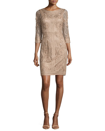 3/4-Sleeve Embroidered Lace Dress, Taupe