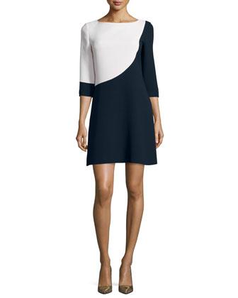 3/4-sleeve colorblock swing dress