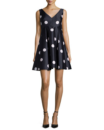 sleeveless polka dot fit-and-flare dress