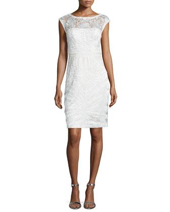 Cap-Sleeve Lace Sheath Dress, White