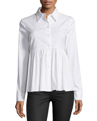 Long-Sleeve Button-Front Shirt, Optic White