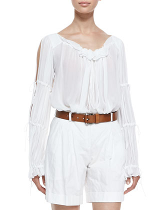 Ruffled Peasant Blouse, Optic White