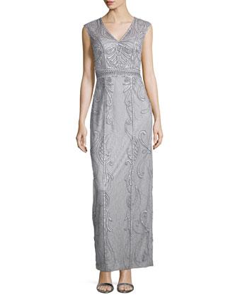 Cap-Sleeve Beaded Column Gown, Platinum
