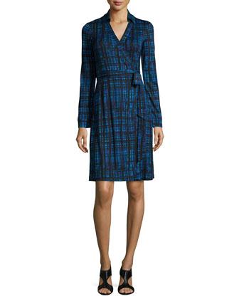 Long-Sleeve Plaid Wrap Dress