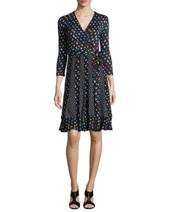 3/4-Sleeve Floral-Print Wrap Dress