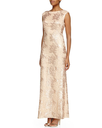 Cap-Sleeve Sequined Gown