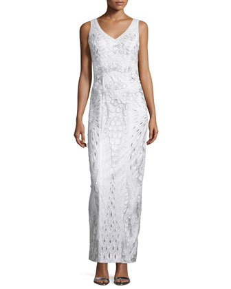 Sleeveless Embroidered Column Gown, White