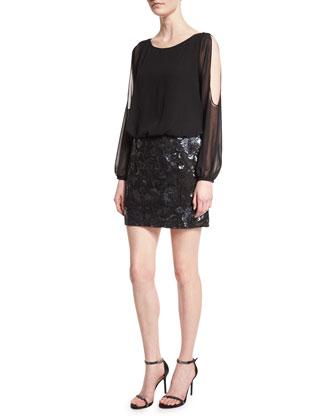 Long-Sleeve Blouson Sequined-Skirt Cocktail Dress