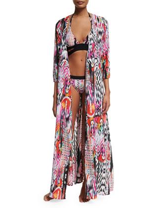 Beach Gypsy Printed Wrap Maxi Coverup
