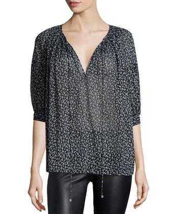 Half-Sleeve Floral-Print Blouse, Black/White