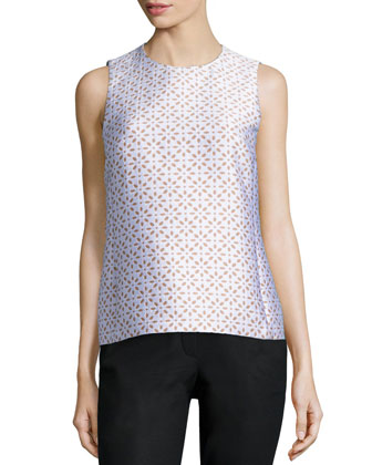 Jewel-Neck Floral-Print Shell, White/Suntan