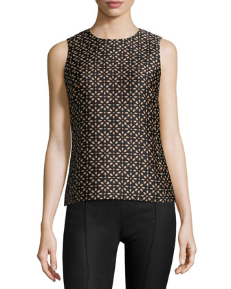 Jewel-Neck Floral-Print Shell, Black/Suntan