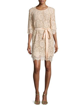 3/4-Sleeve Lace Shift Dress, Nude