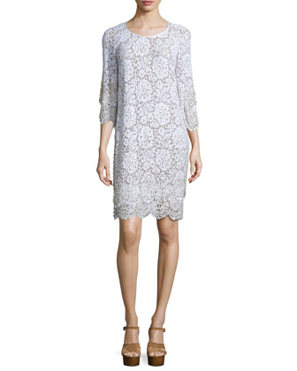 Layered-Hem Lace Shift Dress, Optic White