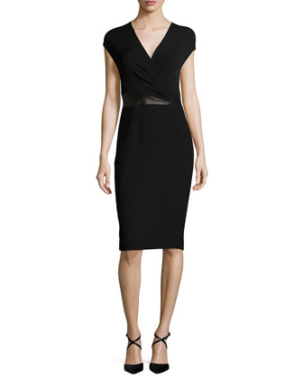 Cap-Sleeve Faux-Wrap Sheath Dress, Black