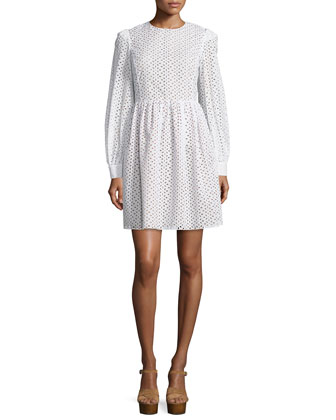 Long-Sleeve Eyelet Fit-&-Flare Dress, Optic White