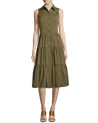 Sleeveless Tiered Shirtdress, Juniper