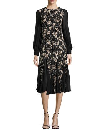 Long-Sleeve Combo Dress, Black/Nude