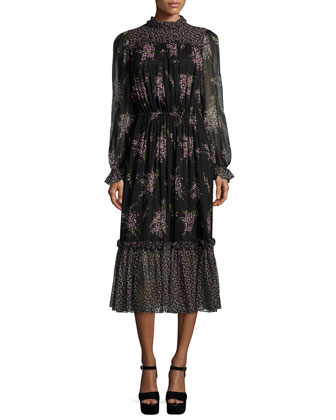 Long-Sleeve Floral-Print Midi Dress, Black/Oleander
