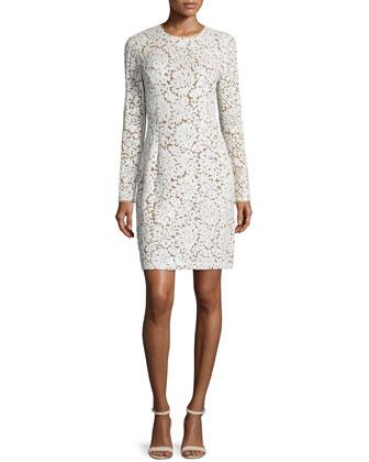 Long-Sleeve Jewel-Neck Dress, Suntan