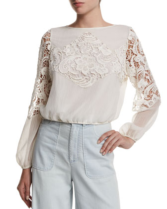 Jenelle Long-Sleeve Lace-Trim Plisse Blouse, Cream