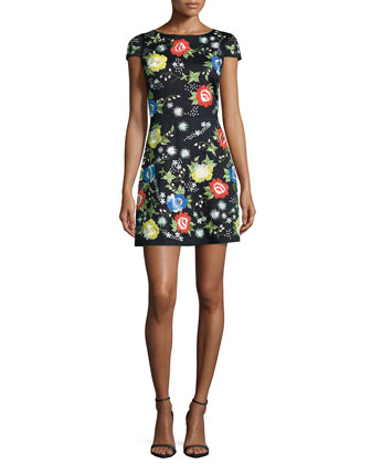 Ellen Short-Sleeve Embroidered Dress, Multi Colors