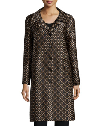 Long-Sleeve Floral-Print Balmacaan Coat, Black/Suntan