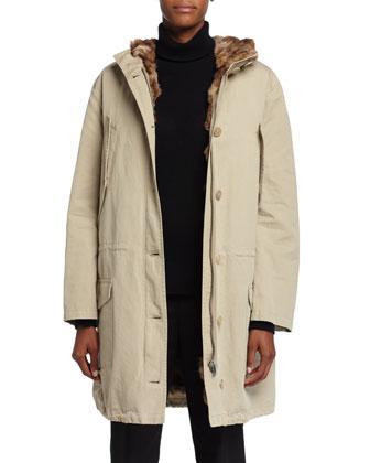 Anorak Hooded Coat W/Fur Lining, Sand
