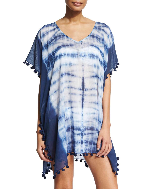 Project Tie-Dye Short Caftan Coverup, Women's, Indigo - Seafolly