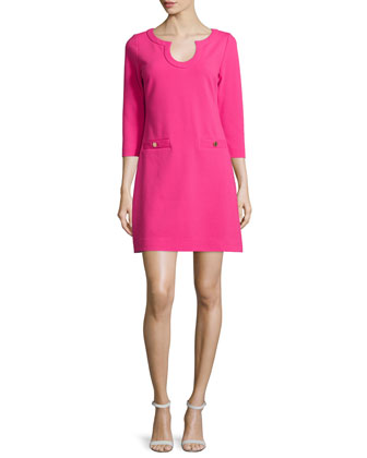 Lina 3/4-Sleeve Ottoman Dress