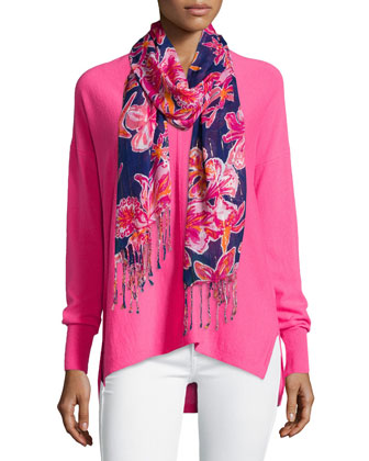 Allessandra V-Neck High-Low Cashmere Tunic & Lilly Floral-Print Scarf