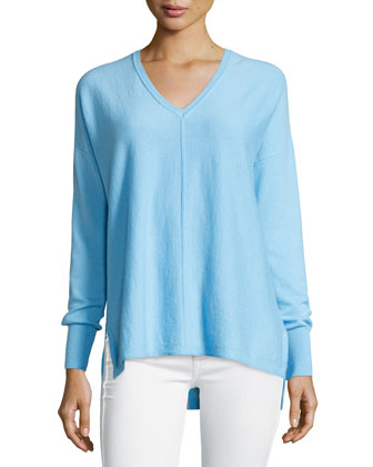 Allessandra V-Neck High-Low Cashmere Tunic