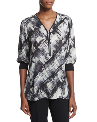 Tiara Half-Sleeve Zip-Front Printed Blouse, Women's