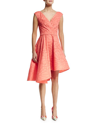 Sleeveless Asymmetric-Hem Dress, Papaya