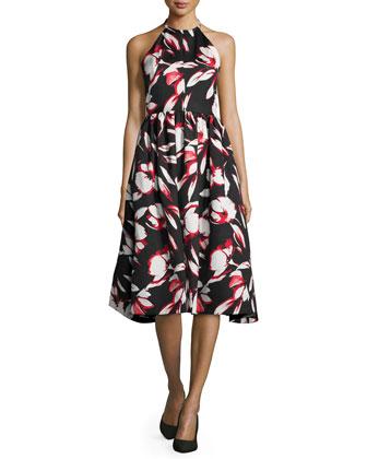 Halter Floral-Print Midi Dress